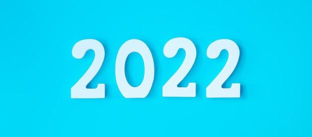 青い背景に2022年の白いテキスト番号