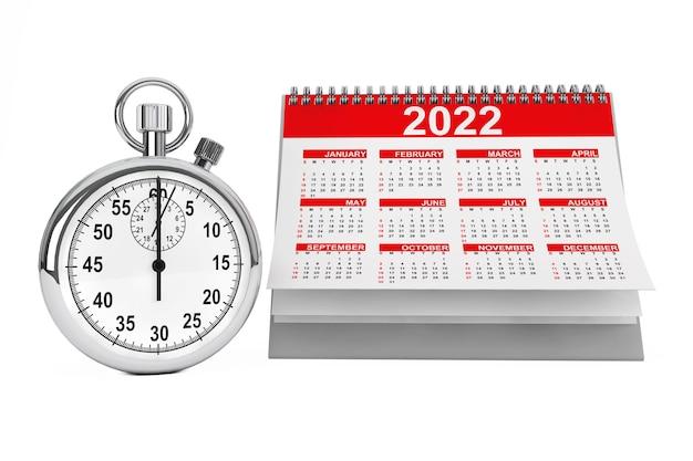 白い背景の上のストップウォッチと2022年のカレンダー。 3dレンダリング