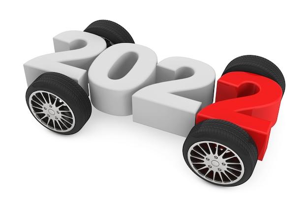 2022 год концепция с автомобильными колесами на белом фоне. 3d рендеринг