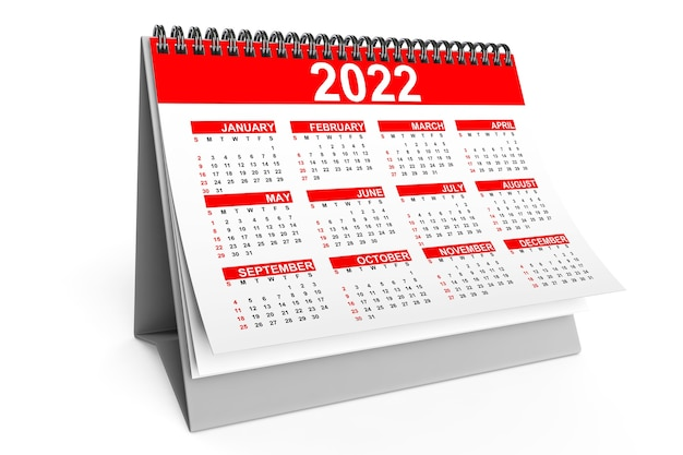 흰색 바탕에 2022년 데스크탑 달력입니다. 3d 렌더링
