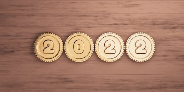 2022 year with golden coins on wooden table for preparation merry christmas and happy new years concept by 3d render.
