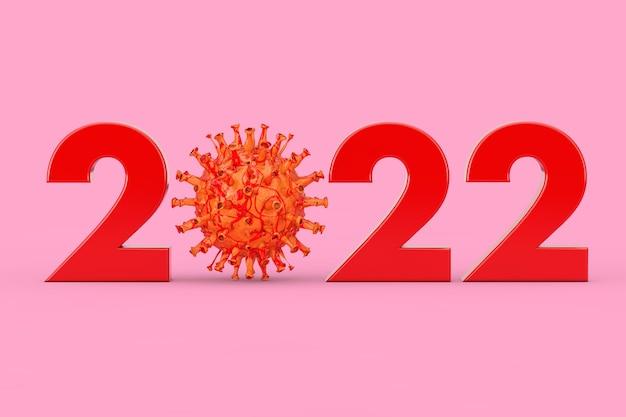 분홍색 배경에 covid-19 코로나 바이러스 박테리아로 0 기호가 있는 2022년. 3d 렌더링