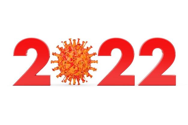 흰색 바탕에 covid-19 코로나 바이러스 박테리아로 0 기호가 있는 2022년. 3d 렌더링