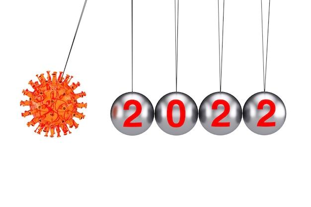 2022년 세계 위기 개념. 코로나바이러스 covid-19 세포 공격 뉴턴은 흰색 배경에 2022년 기호가 있는 균형 공을 크래들입니다. 3d 렌더링