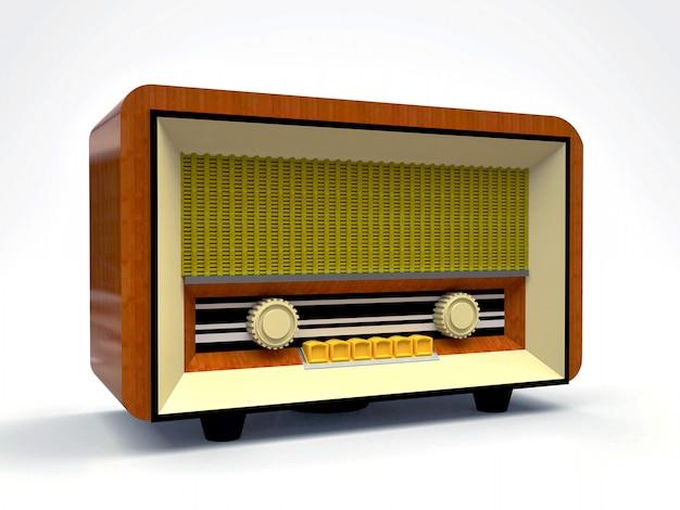 白い背景の上の木材とクリームプラスチック製の古いビンテージチューブラジオ受信機。古い20世紀半ばのラジオ