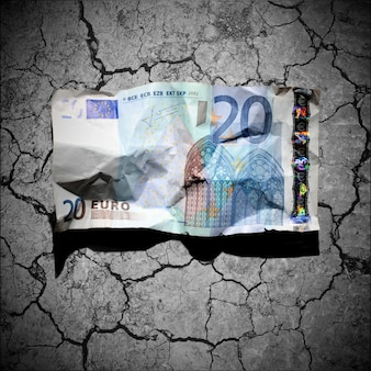 金融危機の概念 - 乾燥土壌にしわくちゃの20ユーロ紙幣