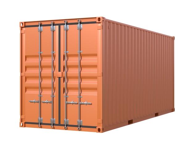 茶色の船貨物コンテナー、20フィートの長さ、白い背景で隔離
