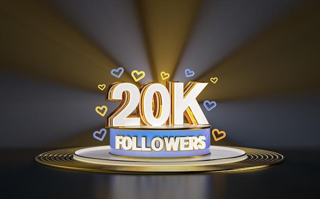 20k 추종자 축하 스포트라이트 골드 배경 3d 렌더가 있는 소셜 미디어 배너 감사