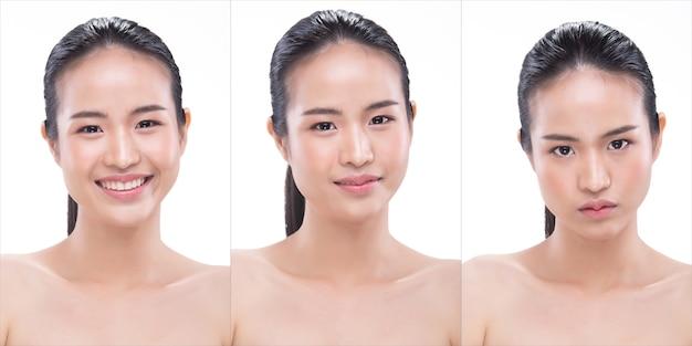 20대 아시아 젊은 여성은 아름다운 매끄러운 피부와 깨끗한 미백을 가지고 있습니다. 소녀는 아침에 일어나서 트리트먼트 로션을 사용하는 것처럼 신선한 미소 웃음을 느낍니다. 스튜디오 흰색 배경 격리 복사 공간