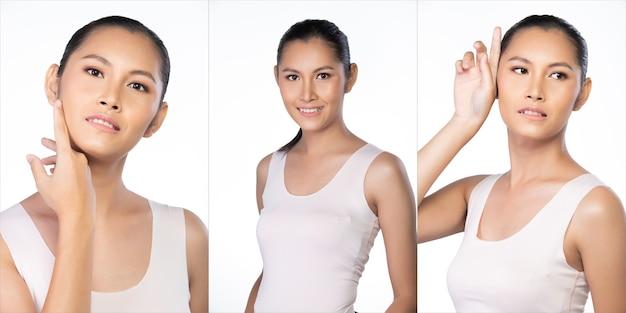 20대 아시아 젊은 여성은 아름다운 매끄러운 피부와 깨끗한 미백을 가지고 있습니다. 소녀는 광대한 빈 공간 셔츠를 입고 치료 로션을 사용하는 것처럼 신선한 미소를 느낍니다. 스튜디오 흰색 배경에 고립 된 콜라주 그룹