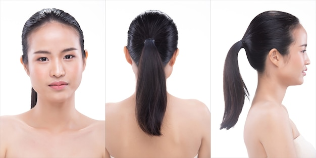 20s asian young woman has beautiful smooth skin and whitening clean. girl wakes up in morning and feel fresh smile laugh like using treatment lotion. studio white background isolated copy space 360