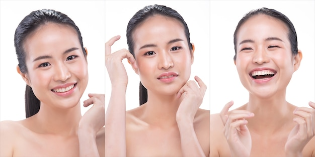 20s asian young woman has beautiful smooth skin and whitening clean. girl wakes up in morning and feel fresh smile laugh like using treatment lotion. studio white background isolated copy space