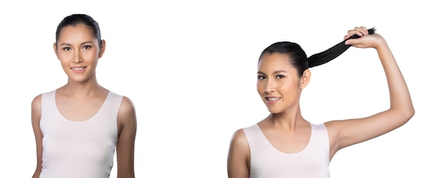 20s asian young woman has beautiful smooth skin and whitening clean. girl wear empty area shirt vast, feel fresh smile laugh like using treatment lotion. studio white background isolated collage group