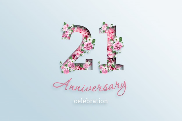 碑文21番号と記念日のお祝いtextis花、光の上