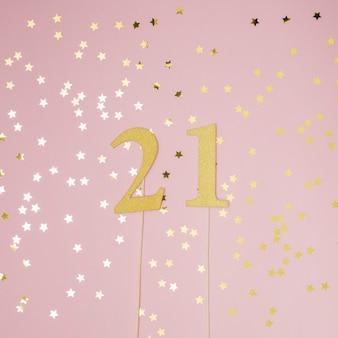 ピンクの背景を持つ21歳の誕生日