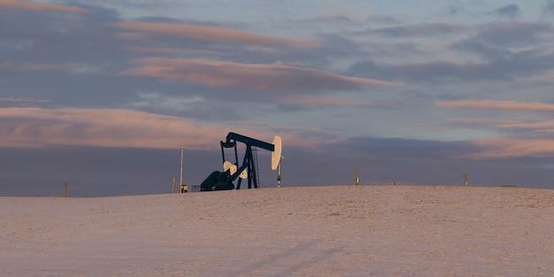 雪の覆われた畑の油井、カウボーイトレイル、アルバータハイウェイ22、アルバータ、カナダ