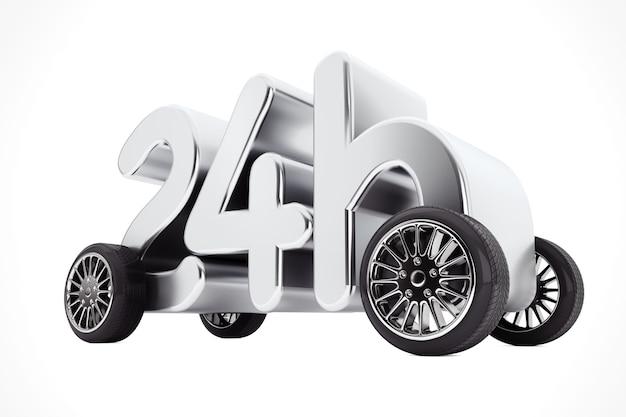 白い背景の上の車輪の24時間サービスと配達の概念。 3dレンダリング。