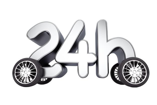 24 часа обслуживания и концепция доставки на колесах на белом фоне. 3d-рендеринг.