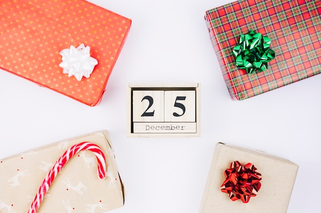 25 december inscription on wooden blocks with gifts
