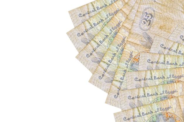 Банкноты 25 египетских пиастров лежат изолированы на белой стене с копией пространства. . большое богатство национальной валюты