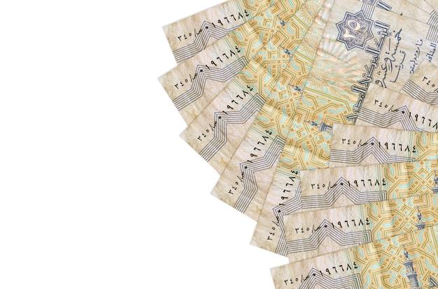 Банкноты 25 египетских пиастров лежат изолированы на белой стене с копией пространства. концептуальная стена богатой жизни. большое богатство национальной валюты