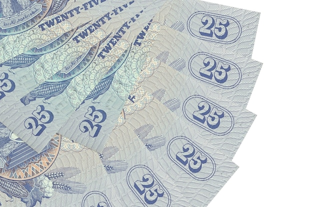 Банкноты 25 египетских пиастров лежат изолированно сложенными в форме веера крупным планом. концепция финансовых операций
