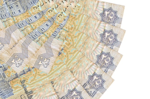 25 egyptian piastres bills lies isolated on white wall with copy space stacked in fan shape close up. financial transactions concept