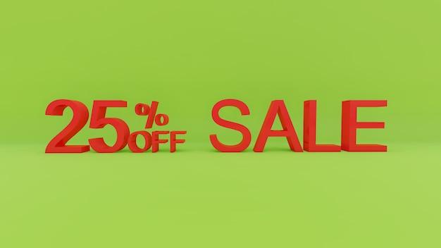 25-процентный текст продажи в 3d зеленой стене