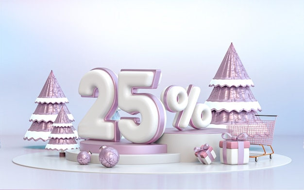 25 percent winter special offer discount background for social media promotion poster 3d rendering