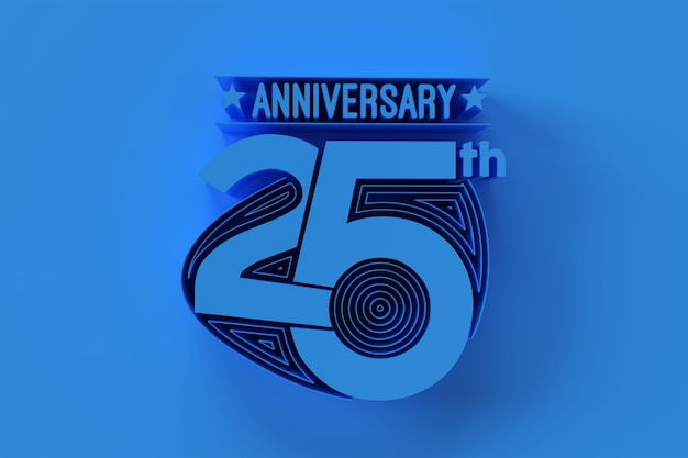 25th years anniversary celebration 3d illustration design.
