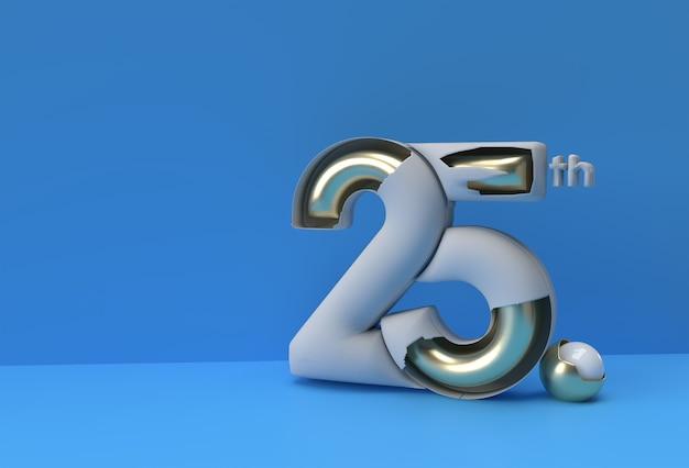 25-летие празднования годовщины 3d визуализации иллюстрации.