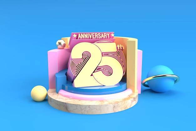 Празднование 25-летия текстовый дисплей продукты реклама 3d визуализация иллюстрации.