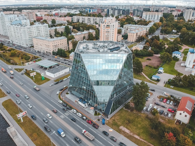 26.07.2019 st. petersburg, russia - aerial photo of a glass skyscraper business center on the embankment of the neva river.