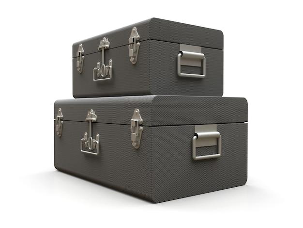 絶妙な留め金が付いた2つのグレーレザースーツケースのセット。何世紀も昔の伝統を持つクラシックなプレミアムデザイン。ビンテージスタイルのモダンな新製品