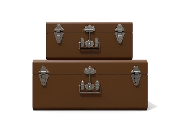 絶妙な留め金が付いた2つの茶色の革のスーツケースのセット。何世紀も昔の伝統を持つクラシックなプレミアムデザイン。ビンテージスタイルのモダンな新製品