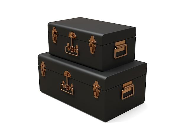 絶妙な留め金が付いた2つの黒革のスーツケースのセット。何世紀も昔の伝統を持つクラシックなプレミアムデザイン。ビンテージスタイルのモダンな新製品