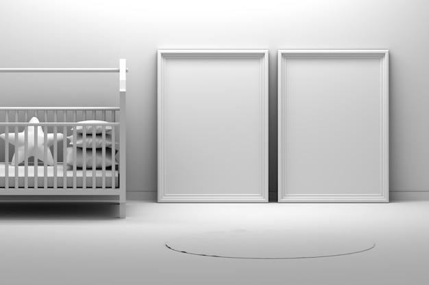 2つの空の空白の図枠と子供の赤ちゃんの部屋