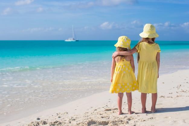 白いビーチで海を見て2つの小さなかわいい女の子の背面図