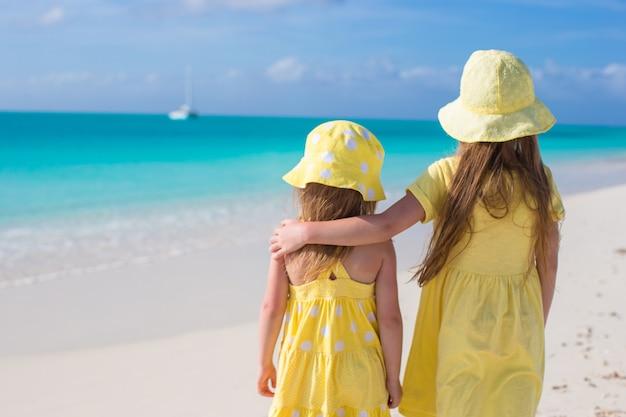 カリブ海の休暇に2人の愛らしい少女の背面図