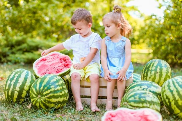 庭のスイカの間に座っている2人の子供。子供たちは屋外で果物を食べる。子供のための健康的なスナック。