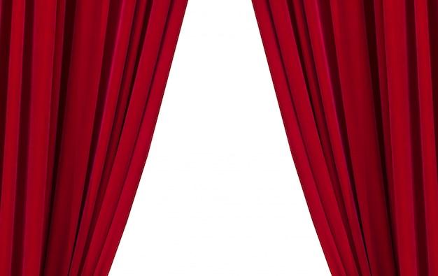 白い背景の上の2つの赤いカーテン