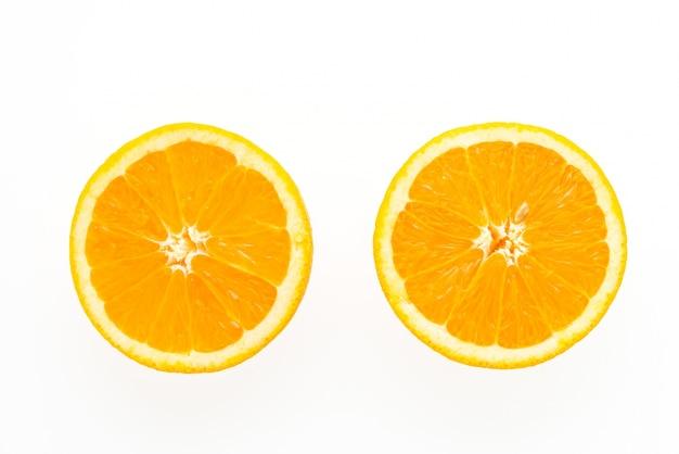 オレンジの2つのスライス