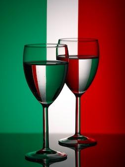 イタリアの旗の壁に完全な2つのワイングラスシルエット