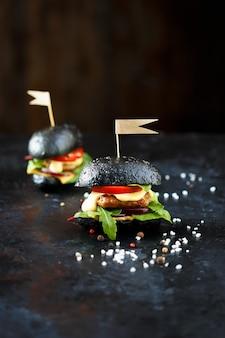2つの黒のハンバーガー