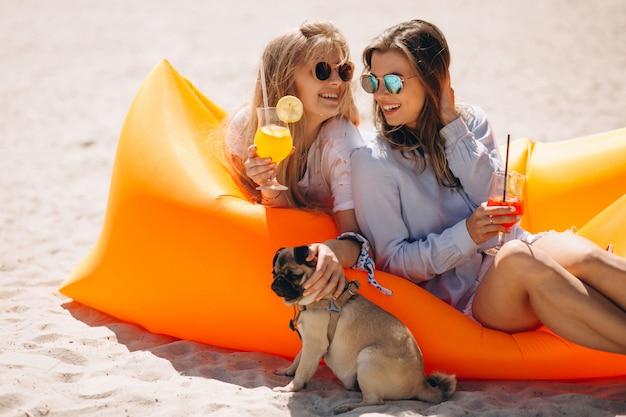 プールのマットレスの上に横たわる小さな犬とカクテルを持つ2人の女の子