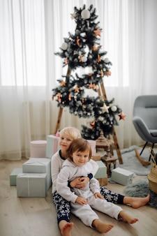 家族の写真撮影中に写真のポーズ2人の姉妹
