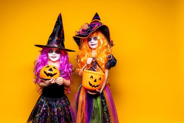 怖がって、顔を作る魔女の衣装で2つの美しい少女