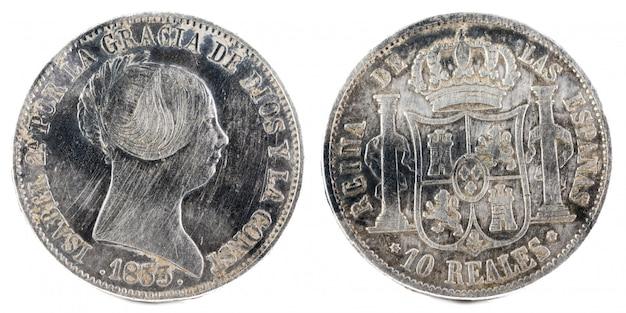 女王イザベル2世の古代スペインの銀貨。