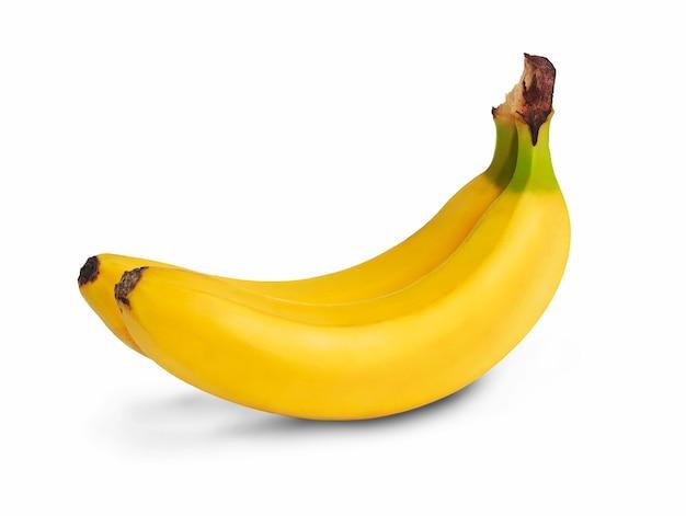 白い背景に分離された2つの新鮮なバナナ