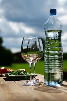 テーブルの上に水を2杯